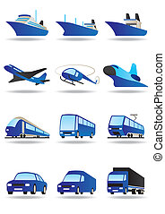 Road, sea and space transport icons set - vector...