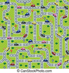 Road seamless pattern with funny cars - Seamless pattern or ...