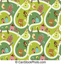 Road seamless pattern with houses and animals - Cute...