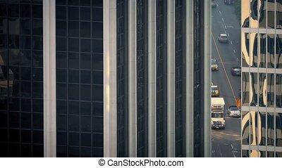 Road Seen Through Gap Between City - Cinematic view of large...