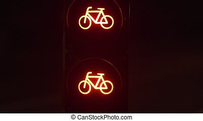 Road semaphore, warning of the movement of bicycles. -...