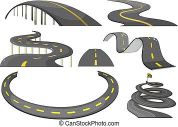Road set - Illustration of a set of roads