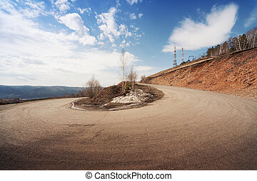 Road on a hill with abrupt turns