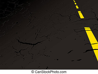 Road side concept - Black strip of road side with yellow...