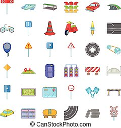 Road sigh icons set, cartoon style - Road sigh icons set....