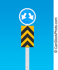 Road sign a blue background (Clipping Path Sign)