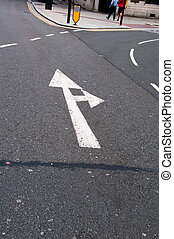 Road sign arrow go straight, turn right