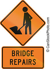 Road sign assembly in New Zealand - Bridge repairs