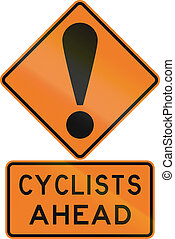 Road sign assembly in New Zealand - Cyclists ahead