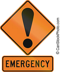 Road sign assembly in New Zealand - Emergency