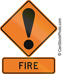 Road sign assembly in New Zealand - Fire