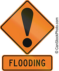 Road sign assembly in New Zealand - Flooding