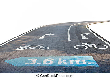 Road sign bicycle lane isolated