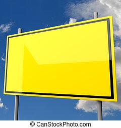 Road Sign Big Yellow Blank