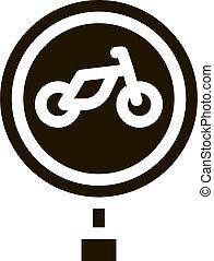 road sign bike icon Vector Glyph Illustration
