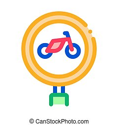 road sign bike icon vector outline illustration