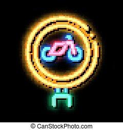 road sign bike neon glow icon illustration