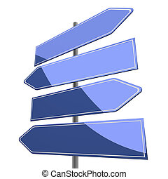 road sign blank with four blue arrows isolated on white background
