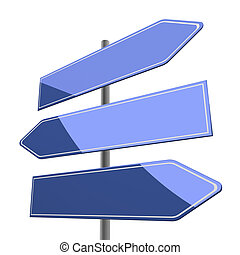 road sign blank with three blue arrows isolated on white background