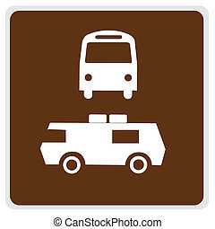 road sign - brown bus camper parking - road sign - brown,...
