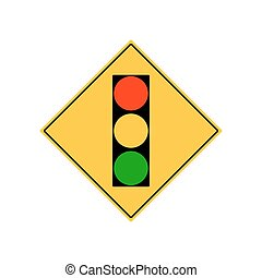 Road sign city traffic light ahead