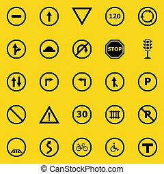 Road sign color icons on yellow background