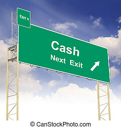 Road sign concept with the text Cash