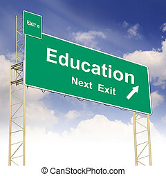 Road sign concept with the text Education and blue sky