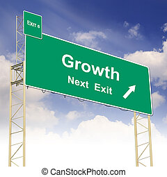 Road sign concept with the text Growth