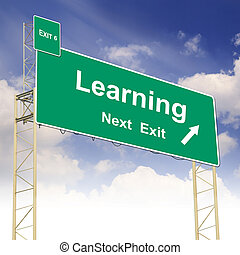 Road sign concept with the text Learning