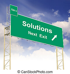 Road sign concept with the text Solutions