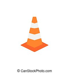 Road sign cone icon, flat style