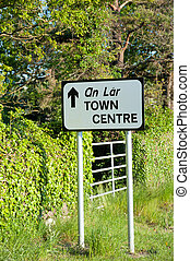Road sign direction to Town Centre