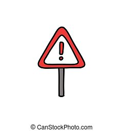 road sign doodle icon, vector color illustration
