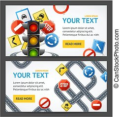 Road Sign Drive School Flyer Banner Posters Card Set. Vector...