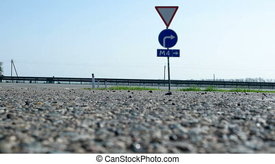 Road sign - entrance to the toll highway M4 Don. Trucks and ...