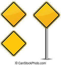 Road sign - Illustration of road sign on white background