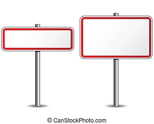Road sign - Illustration of two road sign on white...