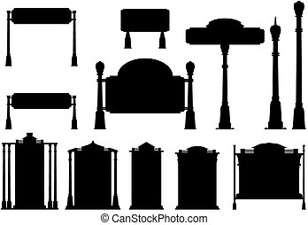 Road sign - Silhouettes of old road signs. Vector...
