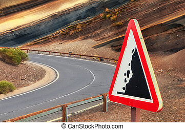 """Road sign """"falling stones"""", Tenerife, Canary, Spain - Road..."""