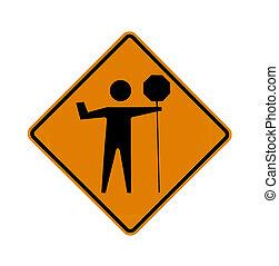 road sign - flagman, black on orange