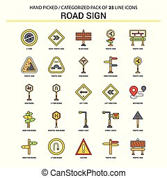 Road Sign Flat Line Icon Set - Business Concept Icons Design