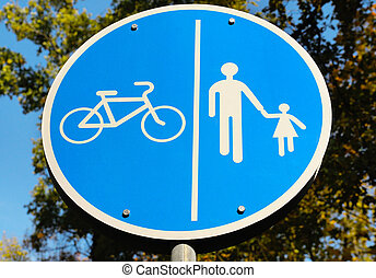 road sign for bikes and pedestrians