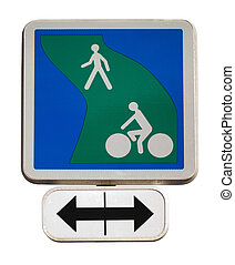 Road sign for the cycle path