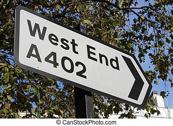 Road sign for the London West End.
