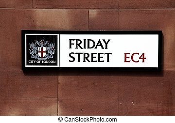Road sign Friday Street in London, UK