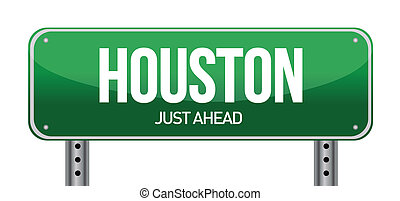 Road sign Houston illustration design over a white...