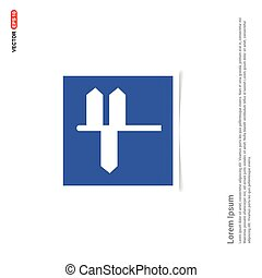 road sign Icon - Blue photo Frame