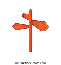 Road sign icon, cartoon style