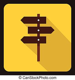 Road sign icon, flat style